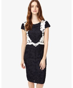 Phase Eight Daphne Tapework Dress Navy/Ivory Dresses