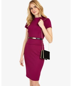 Phase Eight Darcy Belted Dress Garnet Dresses