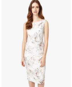 Phase Eight Devika Marble Print Dress Ivory/Petal Dresses