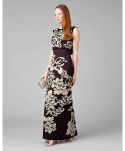 Phase Eight Doris Embroidered Full Length Dress Aubergine Dresses