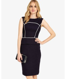 Phase Eight Edeba Textured Dress Navy/Ivory Dresses