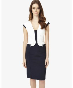 Phase Eight Elaina Peplum Dress Navy/Ivory Dresses