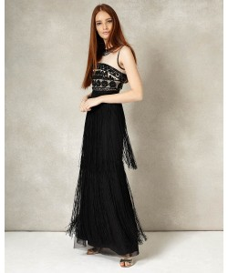 Phase Eight Elizabeth Fringe Full Length Dress Black/Champagne Dresses