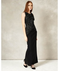 Phase Eight Embry Full Length Dress Black/Silver Dresses