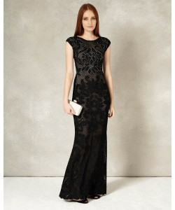 Phase Eight Enid Tapework Full Length Dress Black/Nude Dresses