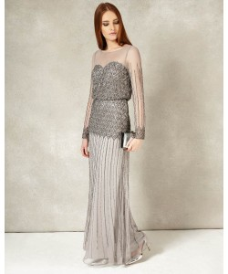 Phase Eight Enya Full Length Dress Silver Dresses