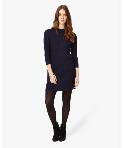 Phase Eight Francesca Geo Ribbed Dress Navy Dresses