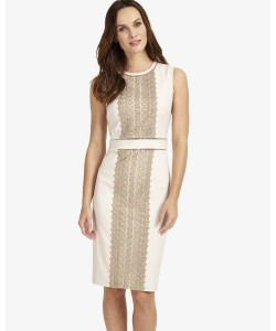 Phase Eight Lucetta Lace Front Dress Champagne/Latte Dresses