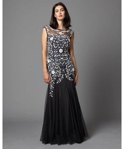 Phase Eight Sabine Tulle Full Length Dress Charcoal Dresses