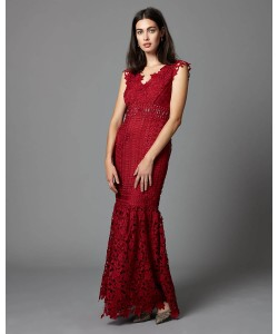 Phase Eight Sauvan Lace Full Length Dress Scarlet Dresses