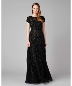 Phase Eight Schubert Lace Beaded Full Length Dress Black/Nude Dresses