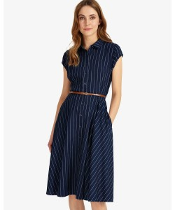 Phase Eight Sophie Stripe Dress Indigo/White Dresses