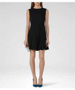 Reiss Abey Black Pleat-Hem Shift Dress