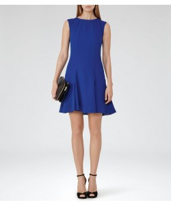 Reiss Abey Sapphire Pleat-Hem Shift Dress
