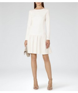 Reiss Agnes Off White Drop-Waist Jersey Dress