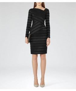 Reiss Ailette Black Textured Stripe Dress