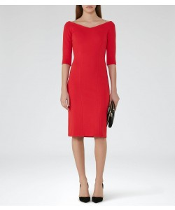 Reiss Aimee China Red Off-The-Shoulder Dress