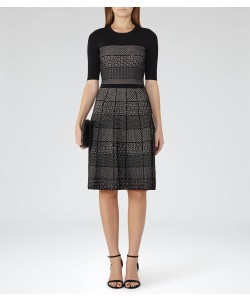 Reiss Alithia Black/pink Technique Knitted Dress