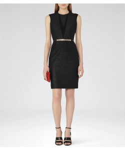 Reiss Ally Black Textured Cocktail Dress