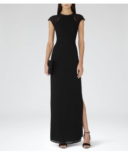 Reiss Alondra Black Embellished Maxi Dress