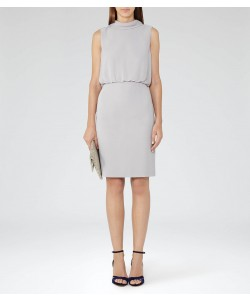 Reiss Angela Powder Grey High-Neck Dress