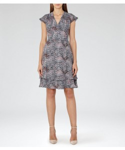 Reiss Angelika Grey Blue/pink Printed Day Dress