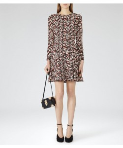 Reiss Aria Ambrosia Printed Fit And Flare Dress