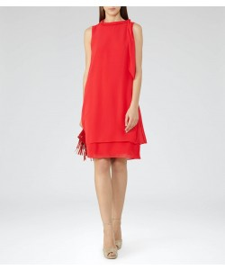 Reiss Aries Cherry Red Tie-Neck Dress