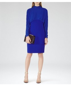 Reiss Arwen Vibrant Blue High-Neck Evening Dress