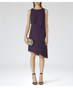 Reiss Aya Deep Amethyst Asymmetric Hem Dress