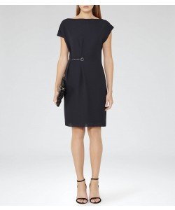 Reiss Baye Night Navy Chain-Detail Dress