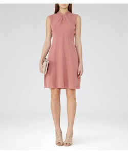 Reiss Beauvoir Deep Blush Twist-Neck Dress