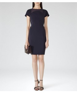 Reiss Bellanne Night Navy Sheer Panel Dress