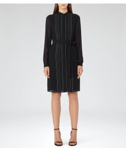 Reiss Cairn Black Long-Sleeved Shift Dress