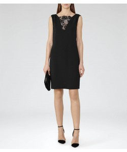 Reiss Caitlin Black Shift Dress With Lace Insert
