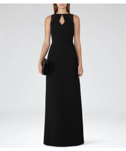 Reiss Calie Maxi Black Neckline-Detail Maxi Dress