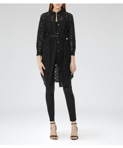 Reiss Carda Black Lace Shirt Dress