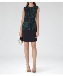 Reiss Carmen Deep Green/night Navy Printed Dress