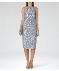 Reiss Cass Grey/silver Metallic Burnout Dress