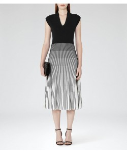 Reiss Cedrica Black/white Contrast Plisse Dress