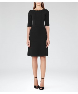 Reiss Celestia Black Structured Knit Dress