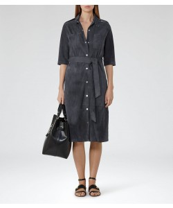 Reiss Steel Blue Suede Shirt Dress