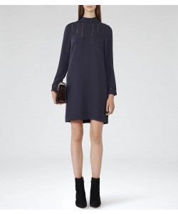 Reiss Christina Night Navy Open-Stitch Detail Dress