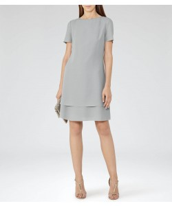 Reiss Cindy Powder Blue Layered Shift Dress