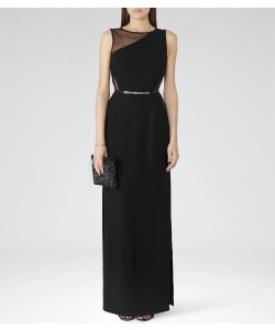 Reiss Clara Black Full-Length Gown