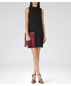 Reiss Coral Black Graphic-Overlay Shift Dress