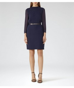 Reiss Coralie Indigo Plisse-Panel Dress
