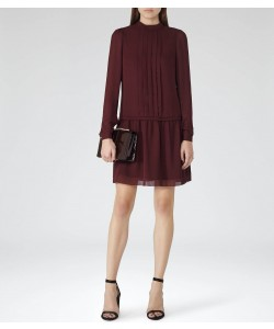 Reiss Crimson Claret High-Neck Shift Dress