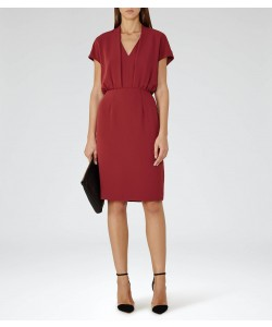 Reiss Dania Rouge V-Neck Shift Dress