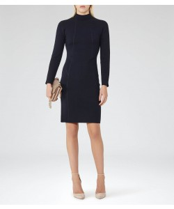 Reiss Daphne Night Navy Knitted Bodycon Dress
